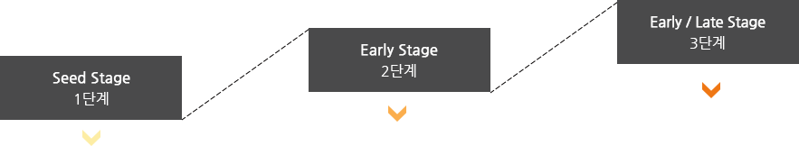 Seed Stage 1단계 Early Stage 2단계 Early / Late Stage 3단계